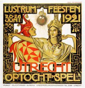 Lustrumaffiche 1921, ontwerp H. Luns.